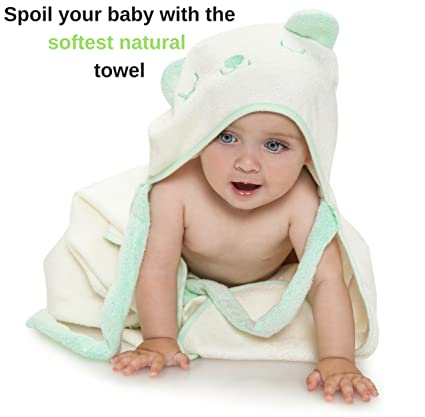 Extra Soft Hooded Bamboo Baby Bath Towel, Organic and Hypoallergenic, Boys & Girls