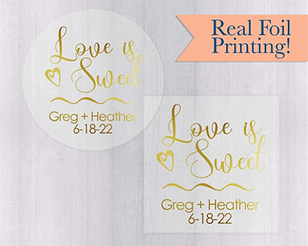 Amazon Love Is Sweet Gold Foil On Clear Transparent Wedding