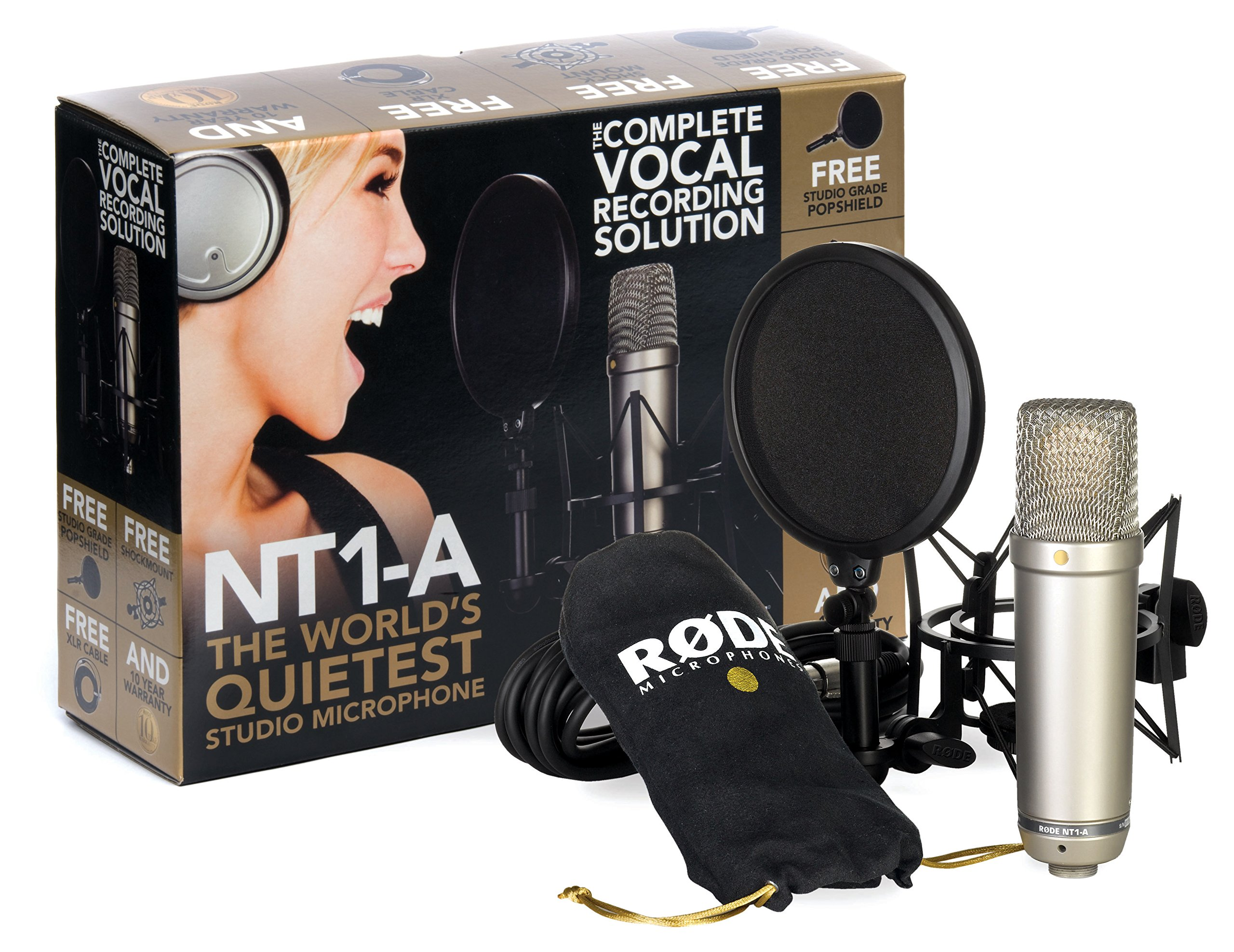 "Kit RODE NT1-A Complete Vocal Recording - 1"" Cardioid Condenser Microphone + SM6 Shock Mount with Detachable Pop Filter product image"