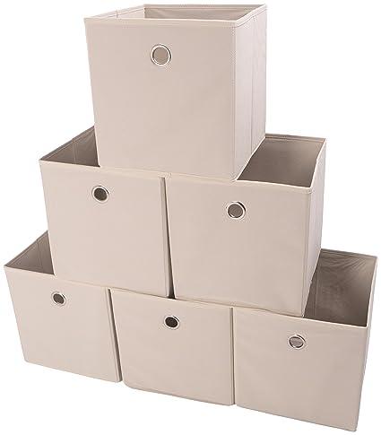 a3f8615dbda4 Amelitory Storage Bins Foldable Cube Organizer Fabric Drawer Set of 6 Beige