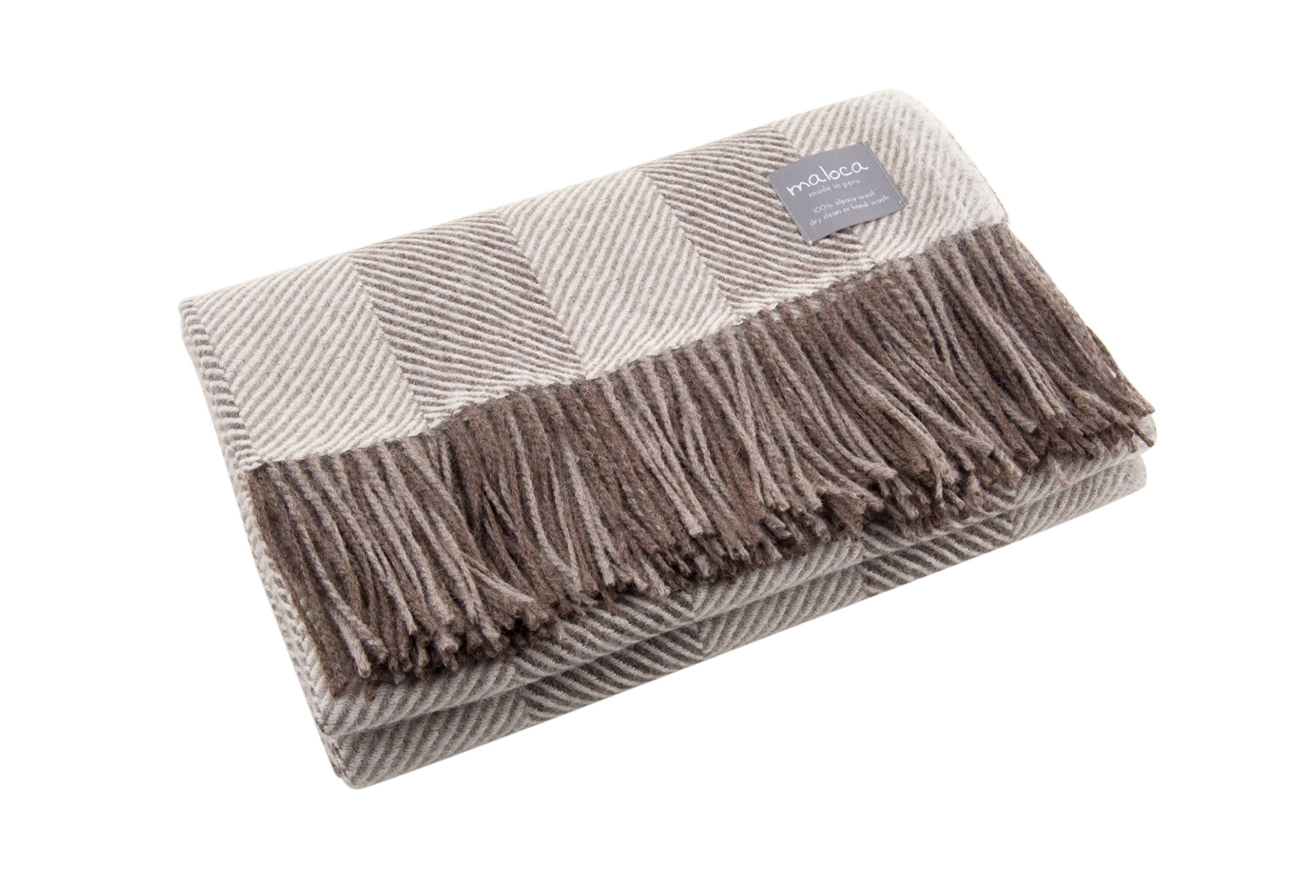 Maloca Alpaca Throw Blanket - 100% Premium Alpaca Wool Brown Heather Herringbone, Ethically Sourced, The Perfect Gift for Any Age or Occasion. Limited Production