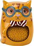 Boston Warehouse Hand-Painted Smarty Cat Scrubby and Sponge Holder