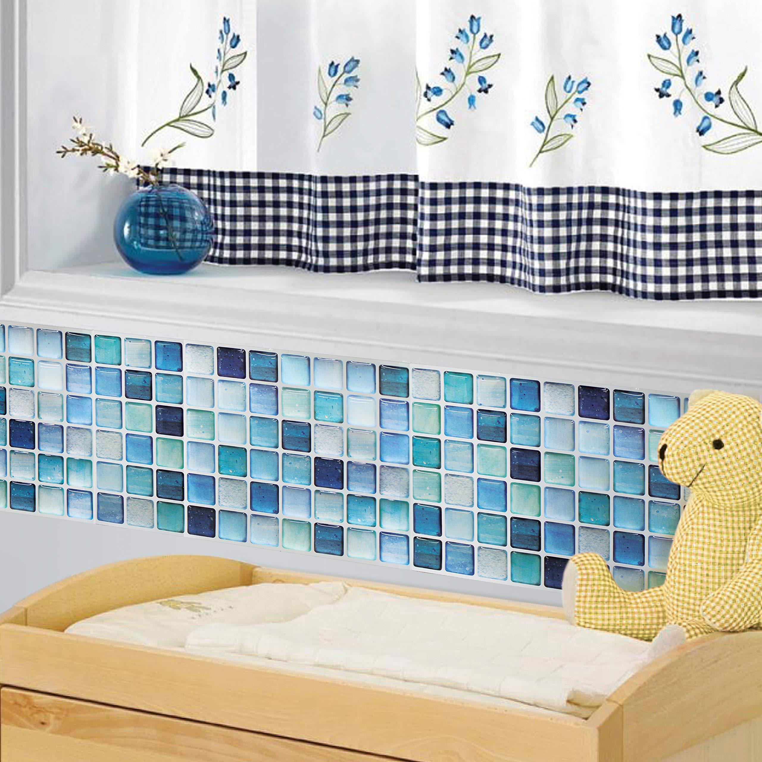 BEAUSTILE Decorative Tile Stickers Peel and Stick Backsplash Fire Retardant Tile Sheet (N.Blue) (10, 5.28'' x 14.8'') by BEAUS TILE (Image #8)