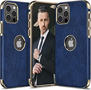LOHASIC Leather for iPhone 12 Pro Max Case Men, Slim Phone Cover Vintage Elegant Women, Shockproof Protective Soft Bumper Hybrid Compatible with iPhone 12 Pro Max 5G (2020) 6.7 Navy Blue