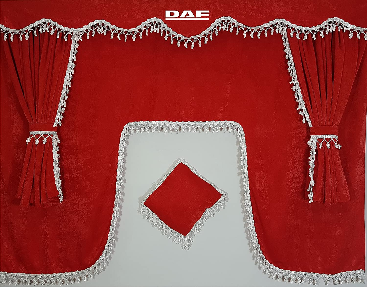 Set of 5 Pieces Red Curtains with White Tassels UNIVERSAL SIZE All Truck Models Cabin Accessories Decoration Plush Fabric Other