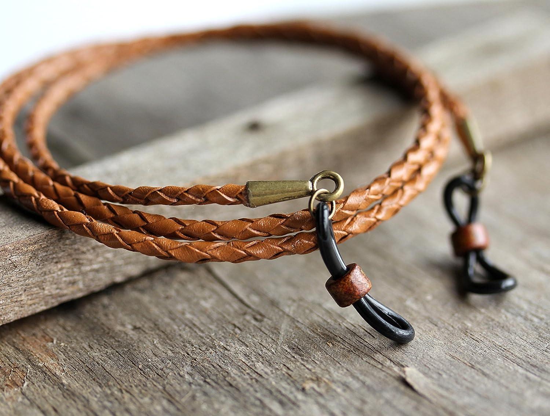 Maetri Eyewear Rustic Chestnut Bolo Leather Eyeglass Holder Leash for Men.