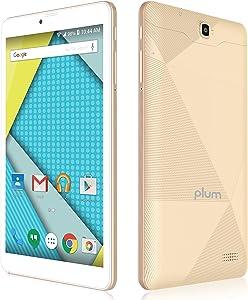 "Plum Optimax - 8"" Display 4G GSM Unlocked Tablet Phone Phablet 16+1 GB Memory Dual Camera Quad core ATT Tmobile MetroPCS Cricket - Gold"
