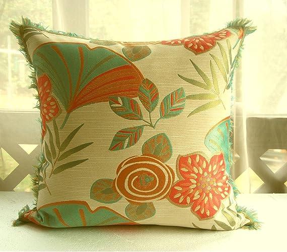 Amazon Handmade Orange Green Tropical Throw Pillow Covers Inspiration Tropical Throw Pillow Covers