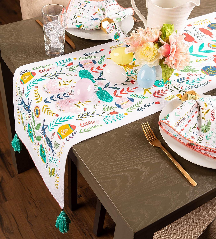 Folk Machine Washable Oversized Easter Holiday Napkin Set DII CAMZ11146 100/% Cotton