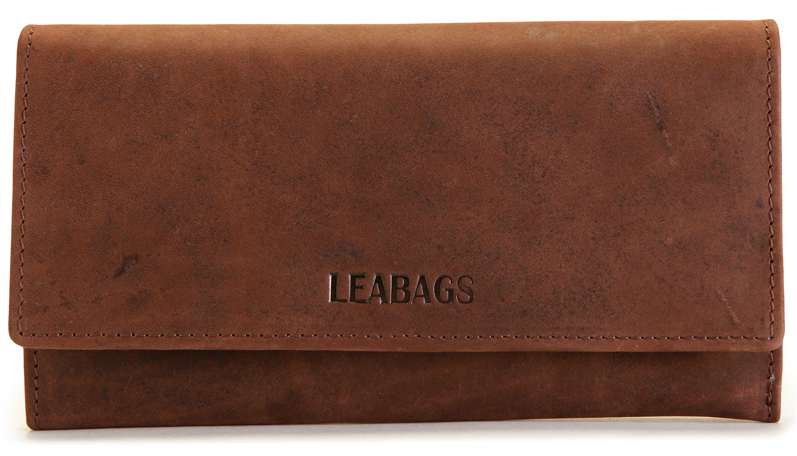 LEABAGS Charlotte genuine buffalo leather women's wallet in vintage style - Nutmeg