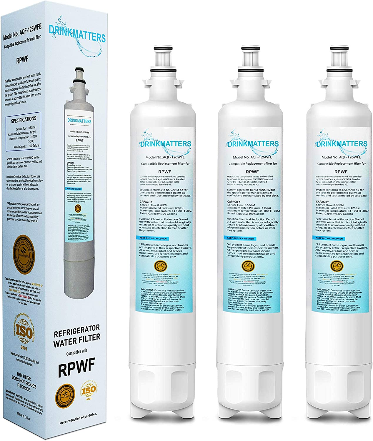 DRINKMATTERS Compatible Refrigerator Water Filter Replacement for GE RPWF (Not RPWFE) - Advanced Filtration Technology - NSF 53&42&372 Certified - PACK of 3