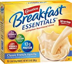 Carnation, Breakfast Essentials, Classic French Vanilla, 10 Ct, 1.26 Oz