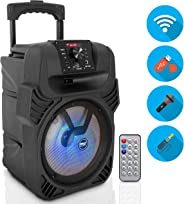 "400W Portable Bluetooth PA Loudspeaker - 8"" Subwoofer System, 4 Ohm/55-20kHz, USB/MP3/FM Radio/ ¼ Mic Inputs, Multi-Color LE"