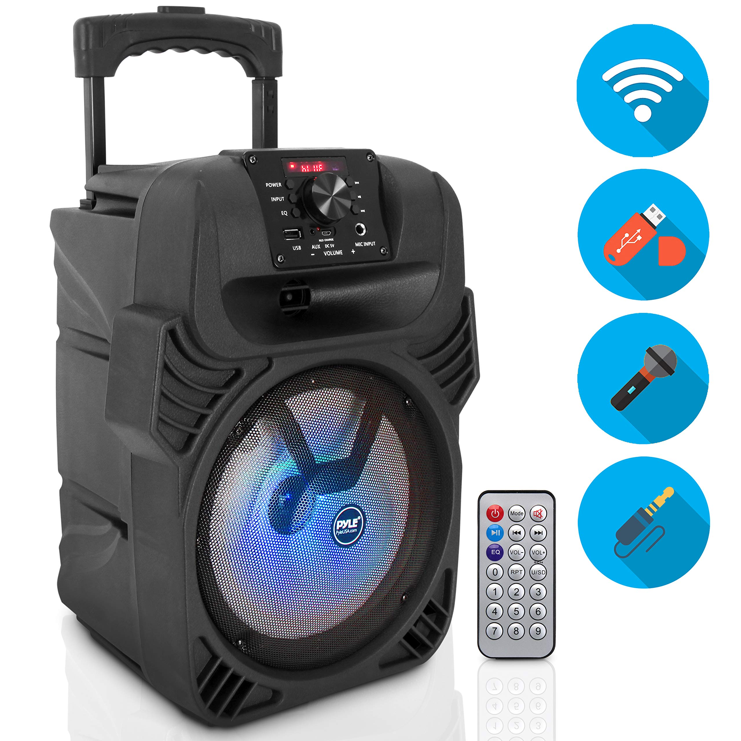 Pyle Portable Bluetooth PA Loudspeaker - 400W, 8'' Subwoofer System, 4 Ohm/55-20kHz, USB/MP3/FM Radio/ ¼ Mic Inputs, Multi-Color LED Lights, Built-in Rechargeable Battery w/ Remote Control