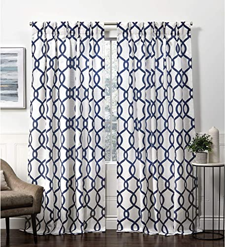 Exclusive Home Curtains Kochi Pinch Pleat Curtain Panel, 54×96, Indigo, 2 Panels