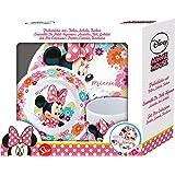 Disney´s Minnie Mouse Melamin Frühstück-Set 3-teilig im Geschenkkarton mit Sichtfenster Teller Müslischale & Trinkbecher