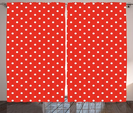 Abstract Curtains By Ambesonne, Cute Vintage Polka Dots Pattern Nostalgic  Trendy Girls Round Spots Design