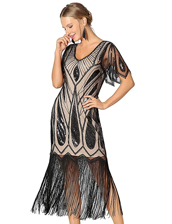 Gangster Costumes & Outfits | Women's and Men's Metme Womens Sequins Beaded Art Deco Lace Dresses for 20s Cooktail Party Fringed Dress $48.99 AT vintagedancer.com