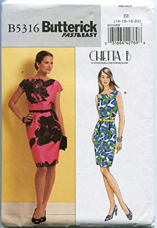 Butterick Sewing Pattern B5316 Misses\' Dress Sizes 14-16-18-20 by ...