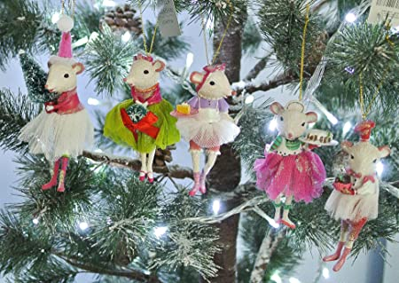 gisela graham christmas set of five ballerina mice resin tree decorations