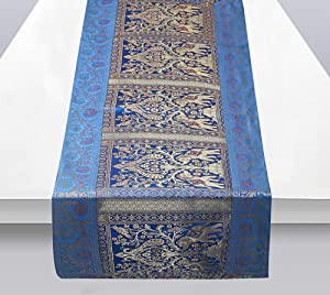Ekavya Brocade Silk Table Runner for Dining Table 6 & 4 Seater Elephant Centre Table Top Decor Rectangle Elephant Table Runner Wedding, Birthday, Christmas. (Aqua Blue & Gold)