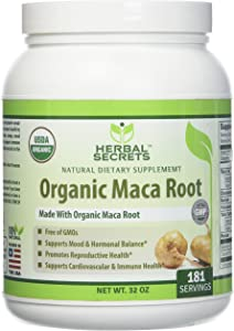Herbal Secrets USDA Certified Organic Maca Root Powder- 32 oz (Non-GMO)- Supports Healthy Mood, Hormonal Balance, Cardiovascular Health & Immune Health*