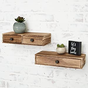 Shanksie Floating Shelves - 2 Pc - Authentic Paulownia Wood - Farmhouse Decor - Modern Nightstand - Wall Storage Bedroom - Home Office - Kitchen Shelving - Small Bookshelf - Plant Stand - Cute Shelf