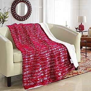 "Chic Home Bindi Cozy Super Soft Ultra Plush Throw Blanket, 50"" x 60"", Red"