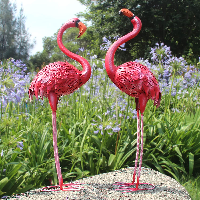 Houssy 38-40 Inch Flamingos Garden Statues Decor, Birds Indoor Outdoor Sculptures & Statues, Metal Yard Art for Home Patio Lawn Pond Flowerbed Backyard, Set of 2