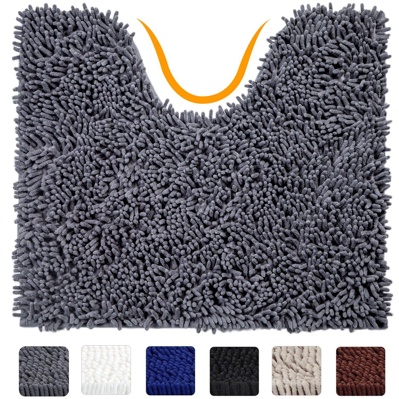 VDOMUS Contour Bath Rug, Soft Shaggy U-shaped Toilet Floor Mat Bathroom Carpet, 19 X 19 inches - Grey