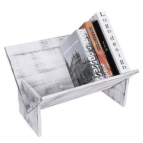 MyGift Rustic Vintage Whitewash Wooden Tilted Desktop Bookshelf