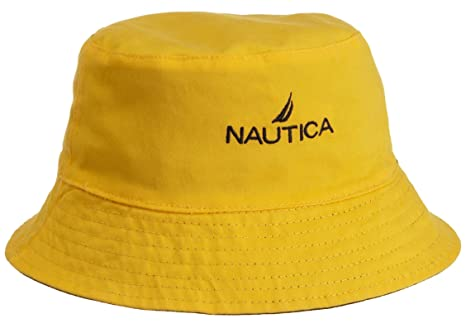 Amazon.com  Nautica Yellow and Navy Blue Reversible Bucket Hat  Watches 89ed2f706cd