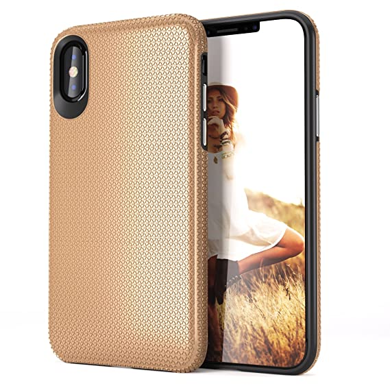 sale retailer 991d3 1b0f0 iPhone X Case, Gold :: Fits Apple iPhone X :: Slim & Stylish with  Protective, Durable, Shock Absorbing Material and Non Slip Texture :: For  Men & ...