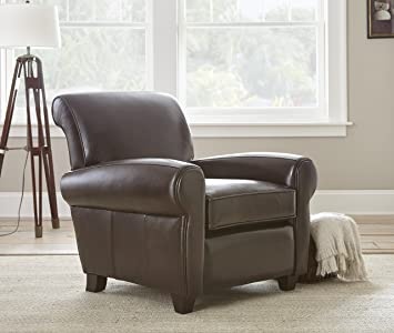 Amazon Com Steve Silver Clinton Leather Accent Chair In Walnut