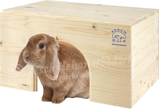 Resch N.º 13 Casita para conejo plana / Madera maciza de picea sin tratar / Con una entrada extra grande y una cómoda superficie de reposo