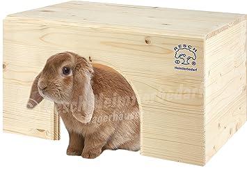 Resch N.º 13 Casita para conejo plana / Madera maciza de picea sin tratar / Con una entrada extra grande y una cómoda superficie de reposo: Amazon.es: ...