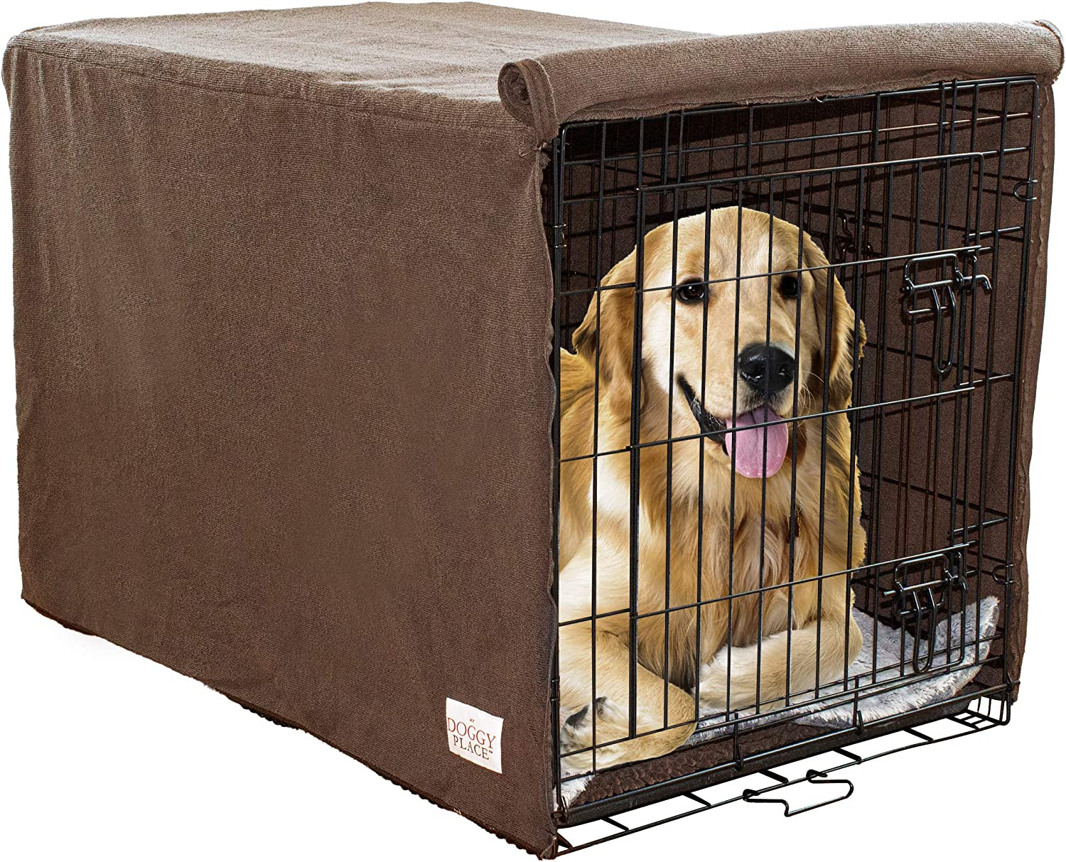My Doggy Place Ultra Absorbent Microfiber Chenille Dog Crate Padded Covers for Pets, Premium, Durable, Washable Kennel Protector Privacy Shield (Brown and Charcoal) (Small, Medium, Large)