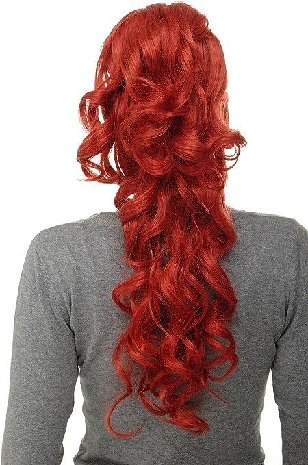 WIG ME UP - Extensión de pelo coleta voluminosa rizada muy larga 60 cm clip tipo mariposa pequeño + peinetas + elástico mezcla roja WK08-137
