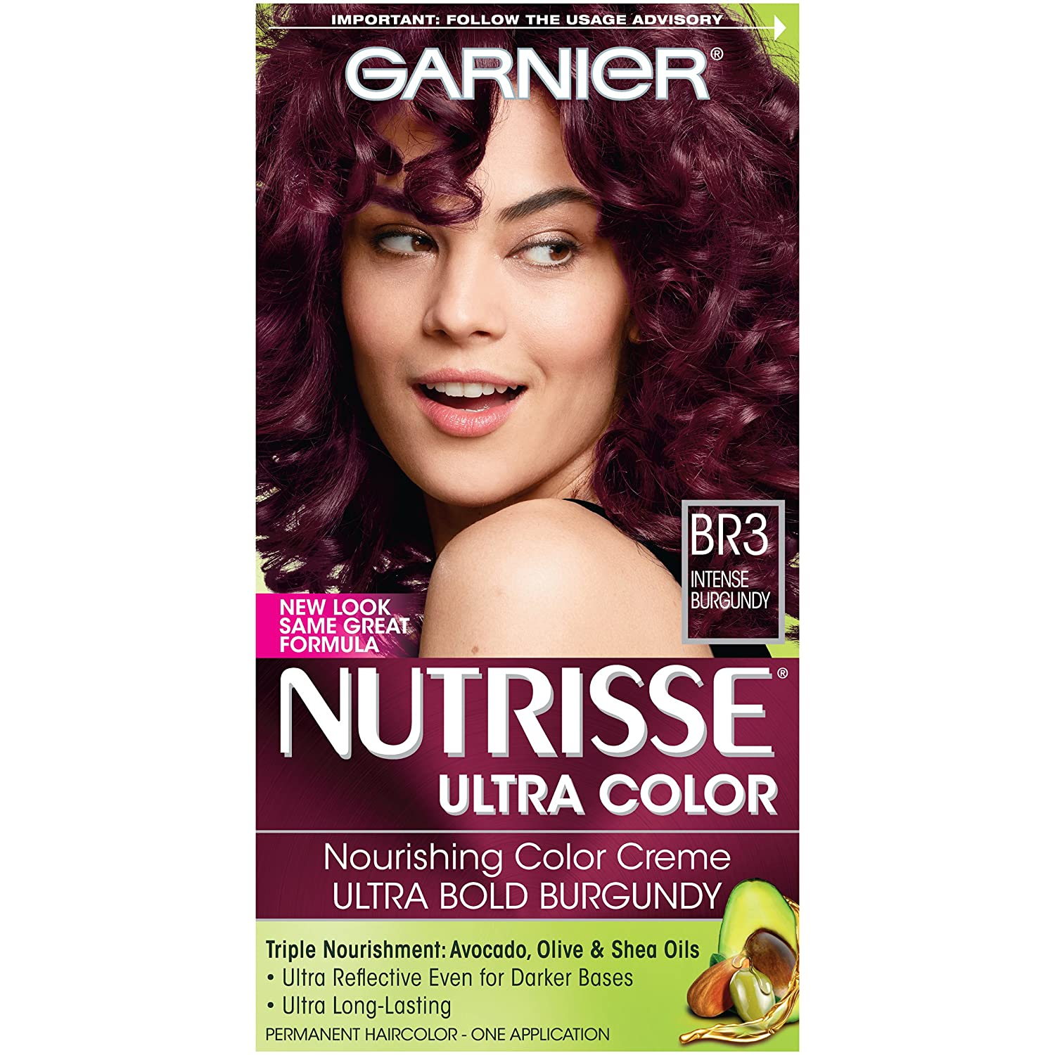 Garnier Nutrisse Ultra Color Nourishing Color Creme, BR3 Intense Burgundy Garnier Hair Color K1580000