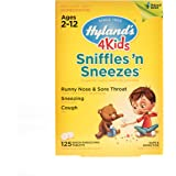 Hyland's 4 Kids Sniffles 'n Sneezes Tablets, Safe and Natural Relief of Runny Nose, Sore Throat, Sneezing and Cough Symptoms for Children, 125 Count