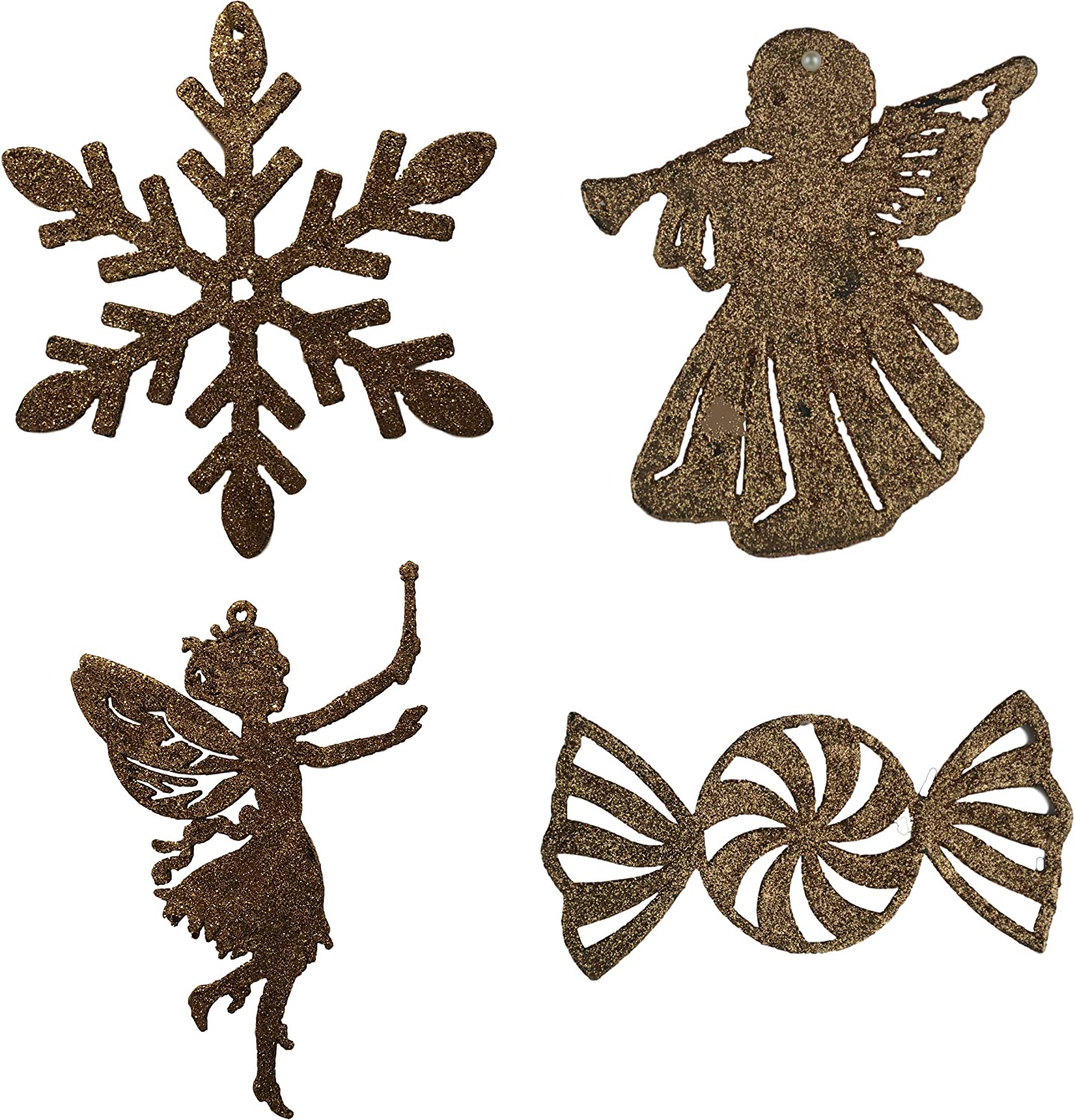 Candy and Snowflake Holiday Home Decoration 24 Pack Set Trumpeting Angel Rose Gold Glitter Christmas Tree Ornaments Fairy