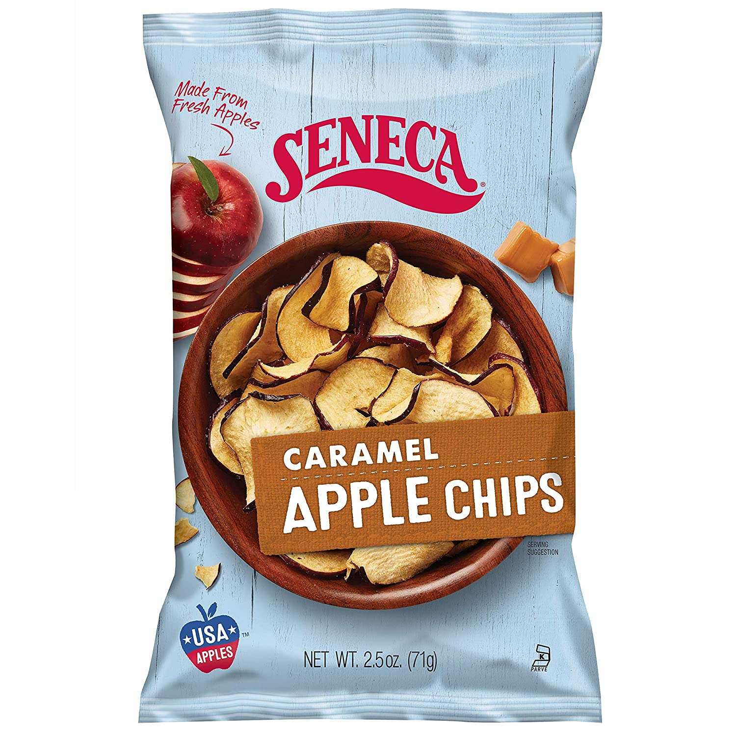 Seneca Caramel Apple Chips   Made from Fresh Apples   100% Red Delicious Apples   Yakima Valley Orchards   Crisped Apple Perfection   Foil-Lined Freshness Bag   2.5 ounce (Pack of 12)