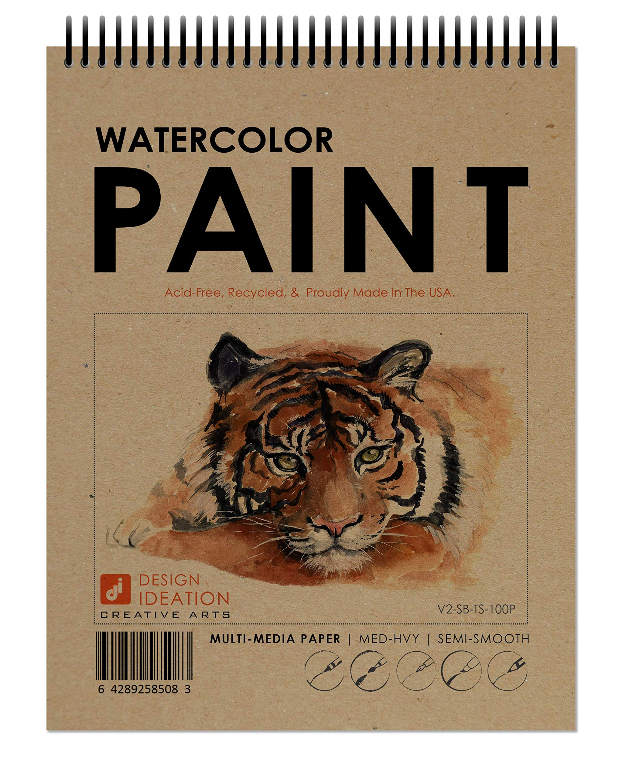 Design Ideation Watercolor Book. Spiral bound multi-media paper watercolor book for Pencil, Ink, Marker, Charcoal and Watercolor Paints. Great for Art, Design and Education. (8.5'' x 11'') (10) by Design Ideation