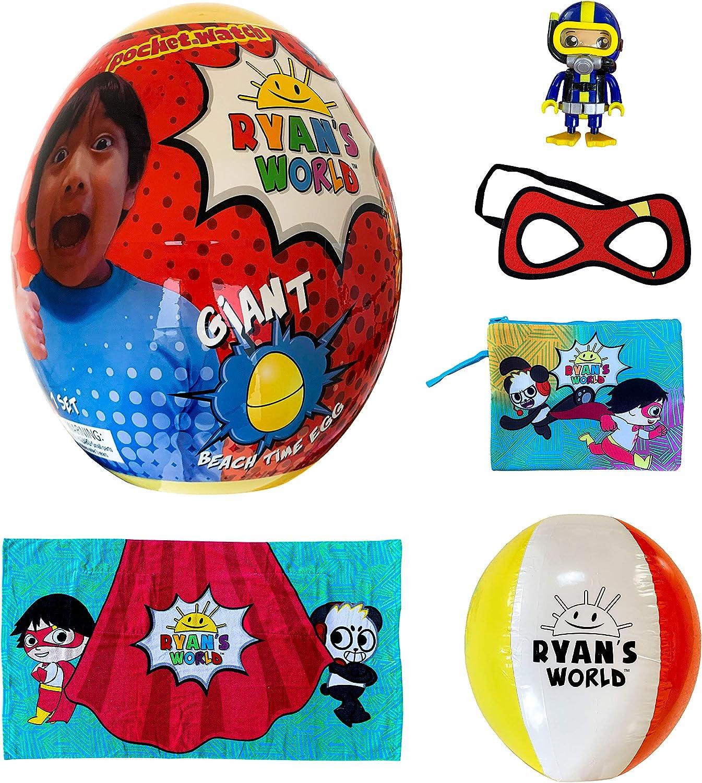 Franco Kids Giant Beach Time Egg Mystery Surprise, 5 Piece Set, Ryan's World Always Ready Design