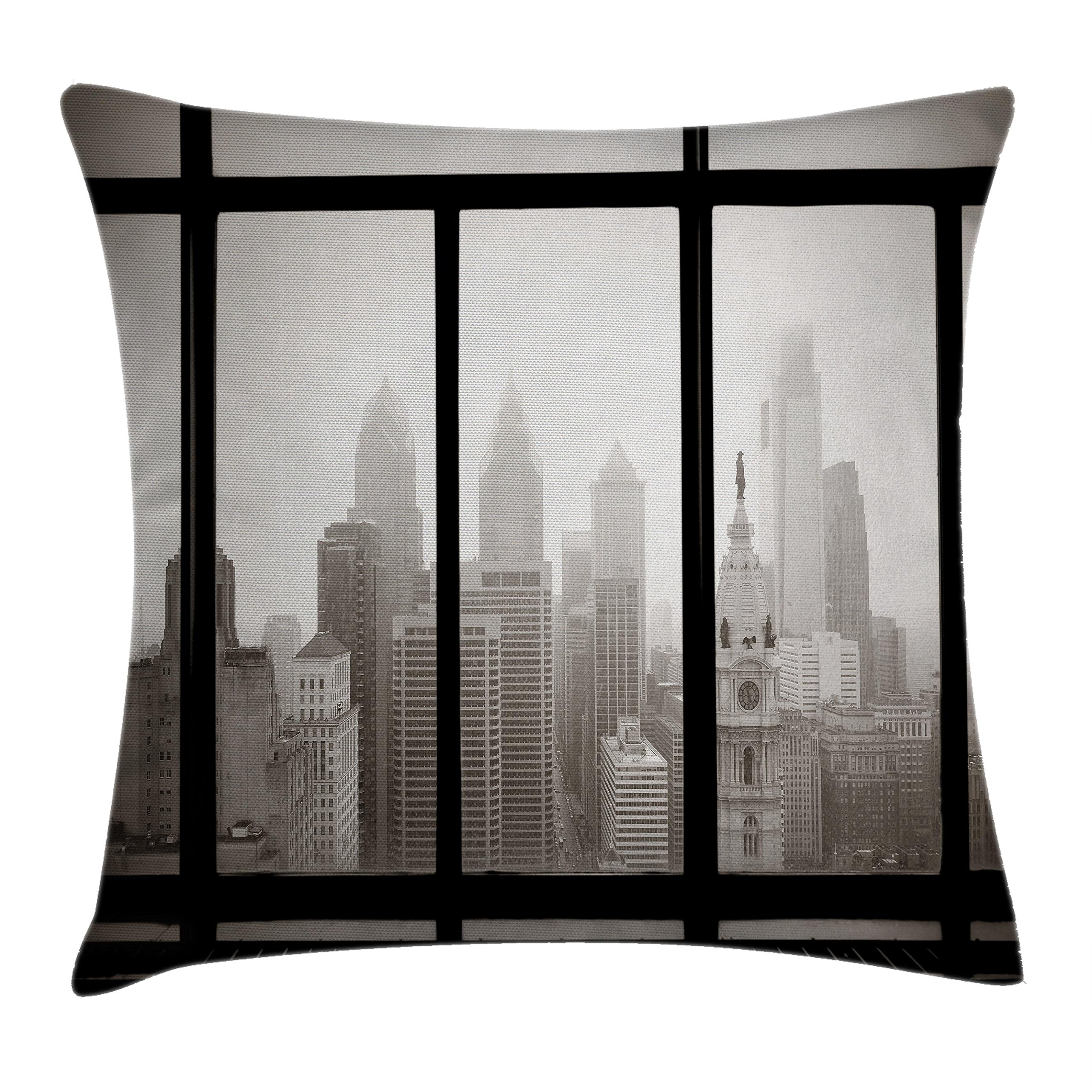 Ambesonne Scenery Throw Pillow Cushion Cover, Philadelphia City Rooftop View Through Window Skyline Landmark Rooftop Travel, Decorative Square Accent Pillow Case, 20 X 20 inches, Grey and Black