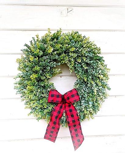 Amazon Com Christmas Wreath Farmhouse Wreath Eucalyptus Wreath