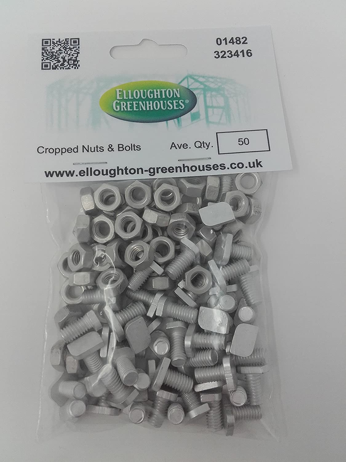 50 Cropped Head Aluminium Greenhouse Nuts & Bolts Genuine Elite Greenhouses Parts Elloughton Greenhouses®