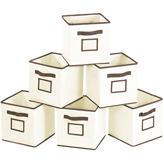 MaidMAX Foldable Storage Cubes with Label Holders and Dual Handles Set of 6, 6 Sets, Beige