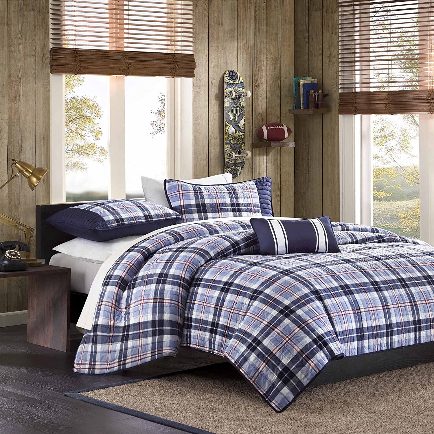 Mi-Zone Elliot Twin/Twin XL Size Teen Boys Quilt Bedding Set - Navy, Plaid – 3 Piece Boys Bedding Quilt Coverlets – Peach Skin Fabric Bed Quilts Quilted Coverlet JLA Home MZ80-272