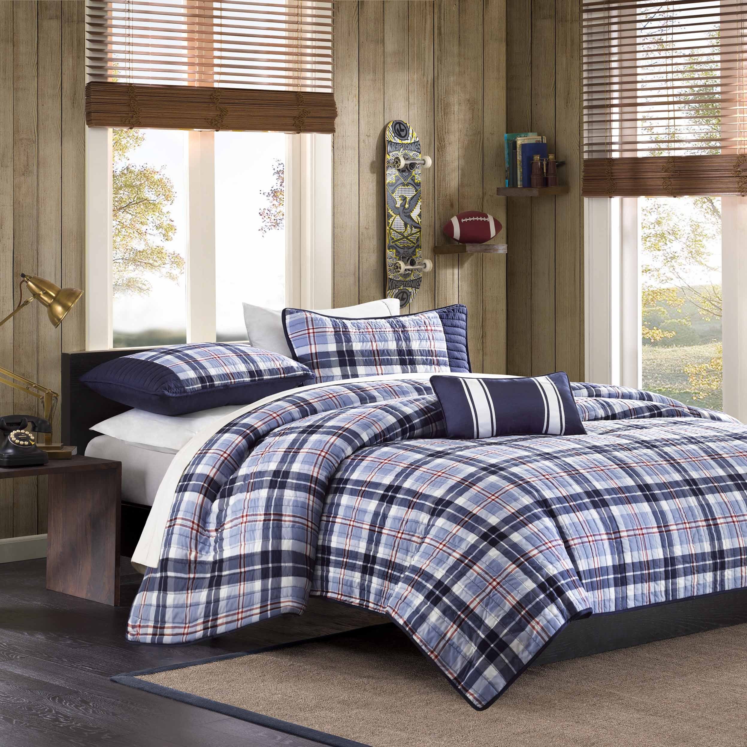 Mi-Zone Elliot Full/Queen Size Teen Boys Quilt Bedding Set - Navy, Plaid – 4 Piece Boys Bedding Quilt Coverlets – Peach Skin Fabric Bed Quilts Quilted Coverlet